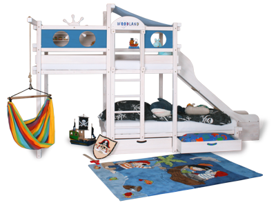 Bunk bed with slide short island