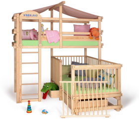 Baby cot transformed to bunk bed