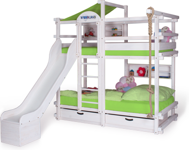 Bunk bed white with slide