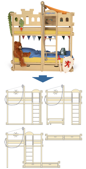 Bunk bed convertible