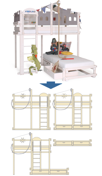 Bunk bed white convertible