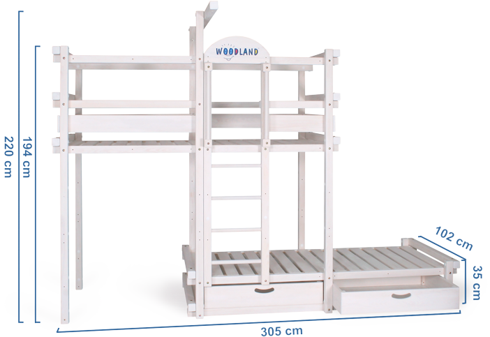 Bunk bed white dimensions