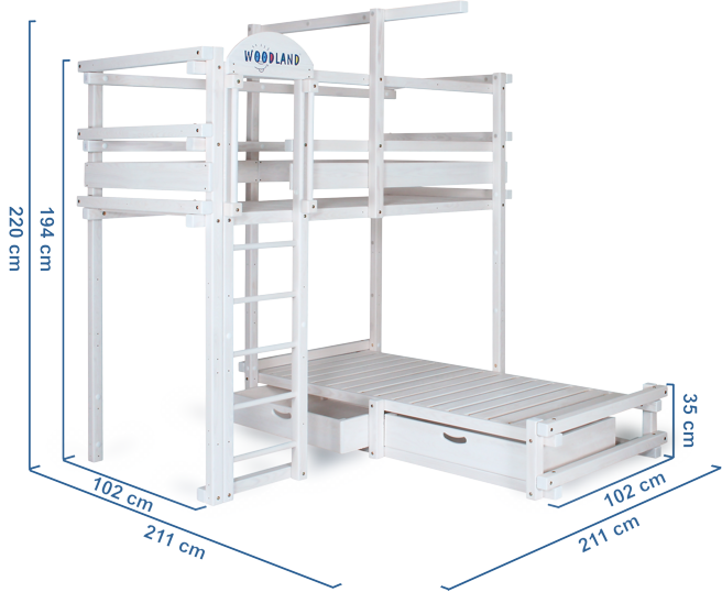 Bunk white dimensions