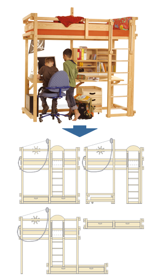 Loft bed MISSISSIPPI convertible