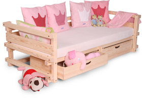 Baby cot with back and arm rest set