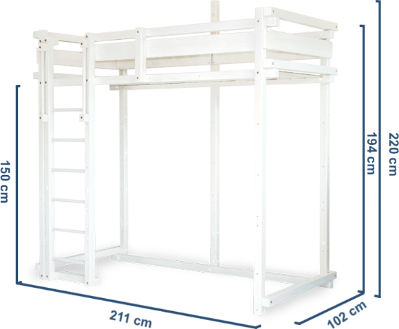 Loft bed MISSISSIPPI Dimensions